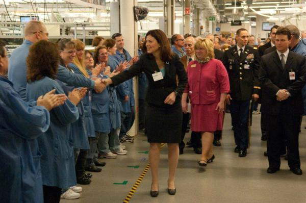 Senator Ayotte meets with hundreds of factory employees in Andover, New Hampshire.